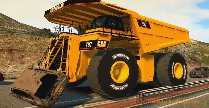 Gambar Foto Kekuatan Mesin Truk Besar Pertambangan